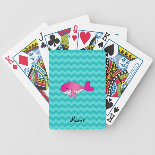 Personalized name pink whale turquoise chevrons bicycle poker cards