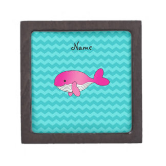 Personalized name pink whale turquoise chevrons premium jewelry box