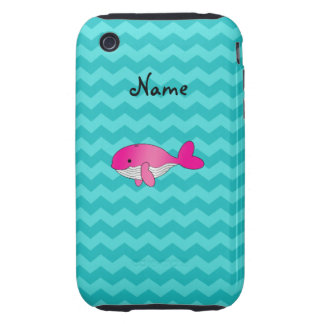 Personalized name pink whale turquoise chevrons tough iPhone 3 cases