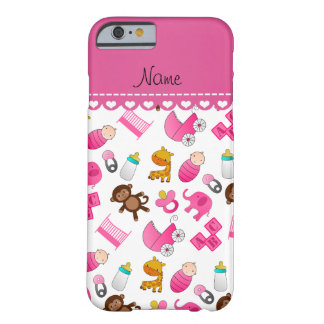 Personalized name pink white baby animals barely there iPhone 6 case