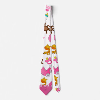 Personalized name pink white baby animals neck tie
