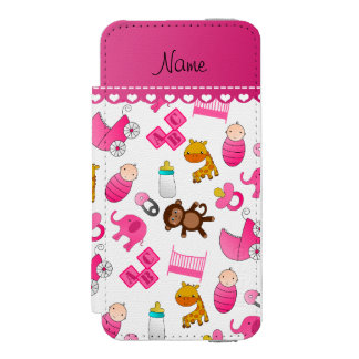 Personalized name pink white baby animals wallet case for iPhone SE/5/5s