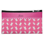 Personalized name pink white bunnies makeup bags
