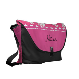 Personalized name pink white bunnies messenger bags