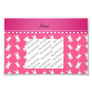 Personalized name pink white bunnies photo print