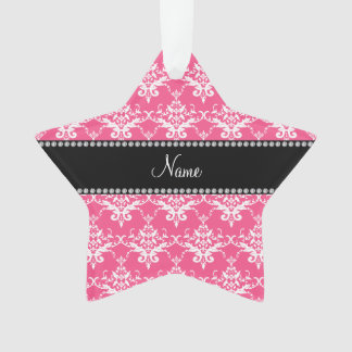 Personalized name pink white damask