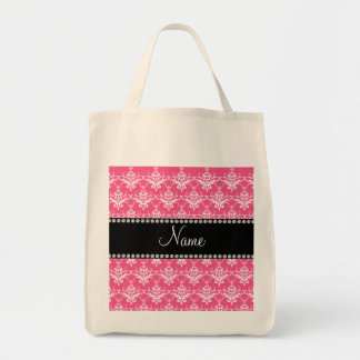 Personalized name pink white damask canvas bags