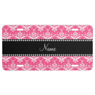 Personalized name pink white damask license plate