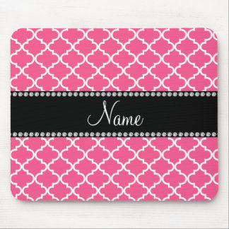 Personalized name Pink white moroccan Mouse Pad