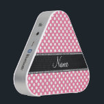 """Personalized name pink white polka dots bluetooth speaker<br><div class=""""desc"""">Pink white polka dots pattern background black diamonds stripe (faux diamonds,  not real) personalized with your name gifts or monogram gifts or your initials</div>"""