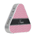 Personalized name pink white polka dots bluetooth speaker<br><div class='desc'>Pink white polka dots pattern background black diamonds stripe (faux diamonds,  not real) personalized with your name gifts or monogram gifts or your initials</div>