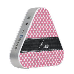 Personalized name pink white polka dots bluetooth speaker