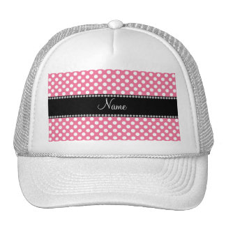 Personalized name pink white polka dots trucker hat
