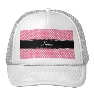 Personalized name pink white polka dots small trucker hat