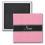 Personalized name pink white polka dots small magnet