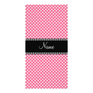 Personalized name pink white polka dots small photo card