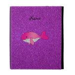 Personalized name pink white purple glitter iPad folio covers