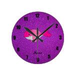 Personalized name pink white purple glitter wallclock