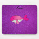 Personalized name pink white purple glitter mouse pad