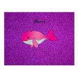 Personalized name pink white purple glitter postcard