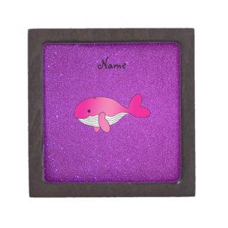 Personalized name pink white purple glitter premium keepsake box