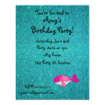 Personalized name pink white turquoise glitter 4.25x5.5 paper invitation card