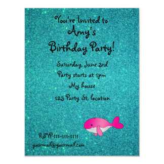"""Personalized name pink white turquoise glitter 4.25"""" x 5.5"""" invitation card"""
