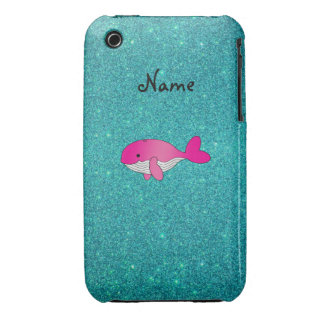 Personalized name pink white turquoise glitter iPhone 3 Case-Mate case