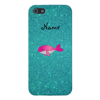 Personalized name pink white turquoise glitter iPhone 5/5S cases