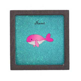 Personalized name pink white turquoise glitter premium keepsake boxes