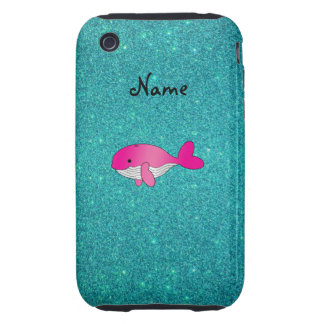Personalized name pink white turquoise glitter tough iPhone 3 case