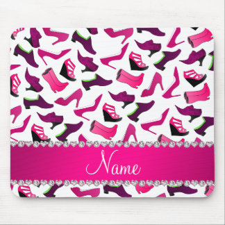 Personalized name pink white women's shoes pattern mouse pad