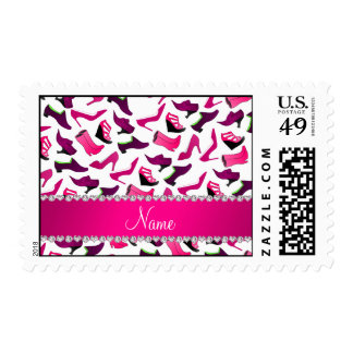 Personalized name pink white women's shoes pattern postage