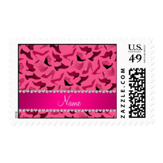 Personalized name pink women's shoes pattern postage