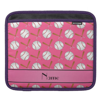 Personalized name pink wooden bats baseballs sleeve for iPads