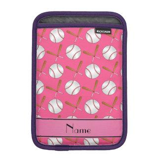 Personalized name pink wooden bats baseballs iPad mini sleeve