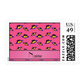 Personalized name pink wrestlers on mat postage
