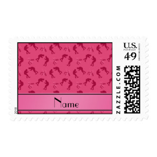 Personalized name pink wrestlers postage