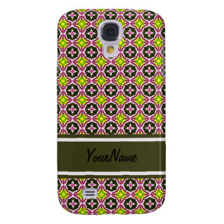Personalized Name Pink Yellow and Green Batik Patt Galaxy S4 Case