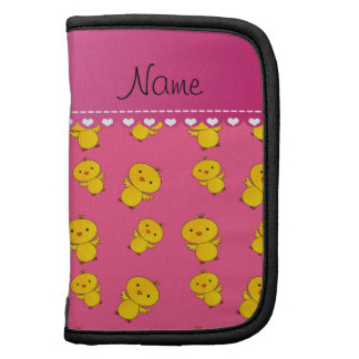 Personalized name pink yellow chicks planners