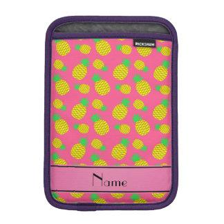 Personalized name pink yellow pineapples iPad mini sleeve