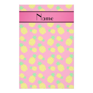 Personalized name pink yellow pineapples stationery paper