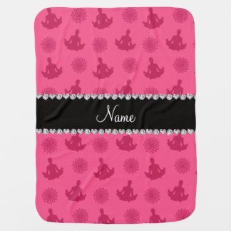 Personalized name pink yoga pattern baby blanket