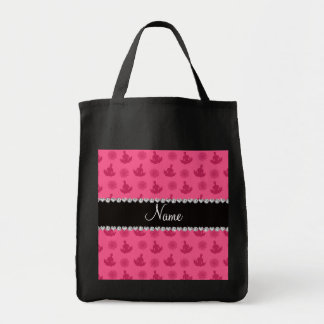 Personalized name pink yoga pattern bag
