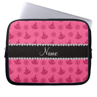 Personalized name pink yoga pattern laptop sleeves