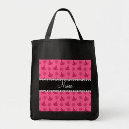 Personalized name pink yoga pattern tote bag
