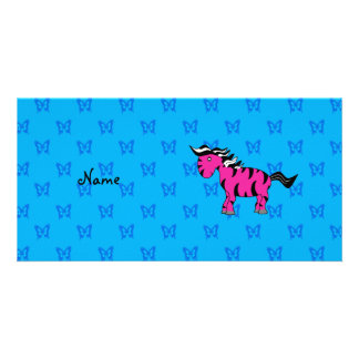 Personalized name pink zebra blue butterflies photo card
