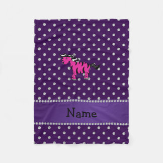 Personalized name pink zebra purple diamonds fleece blanket