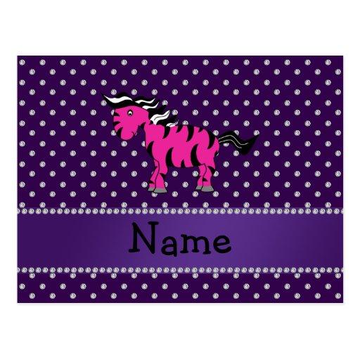 Personalized name pink zebra purple diamonds postcard
