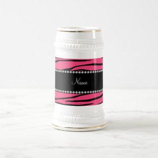 Personalized name pink zebra stripes coffee mugs